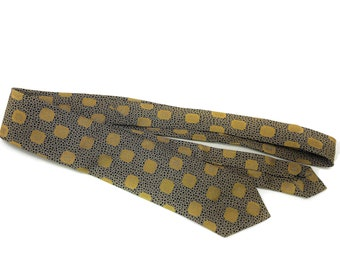 c82fa382ae77 Vintage 1960's Gold & Black Pattern Mens Tie by Brent, Montgomery Ward