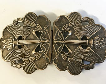 A Beautiful Vintage Art Nouveau Brass Belt Buckle Olympic Torch Design