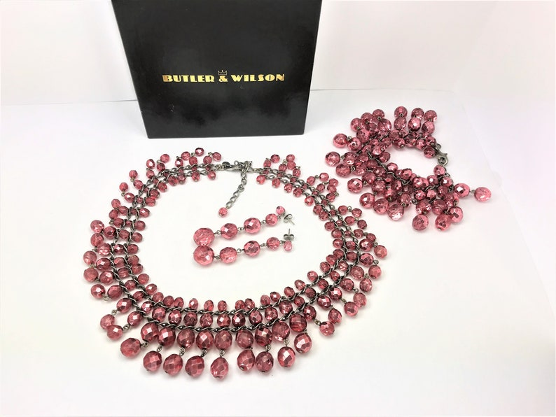 ffc9b41c59a39 Stunning Vintage BUTLER & WILSON Pink Faceted Beads Jewellery Set, Suite.  Necklace, Bracelet and Earrings with Box