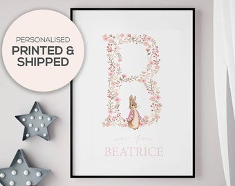 Personalised Peter Rabbit Floral Print, Beatrix Potter Print, Peter Rabbit Nursery Print, Christening Gift, Nursery, New Baby Print