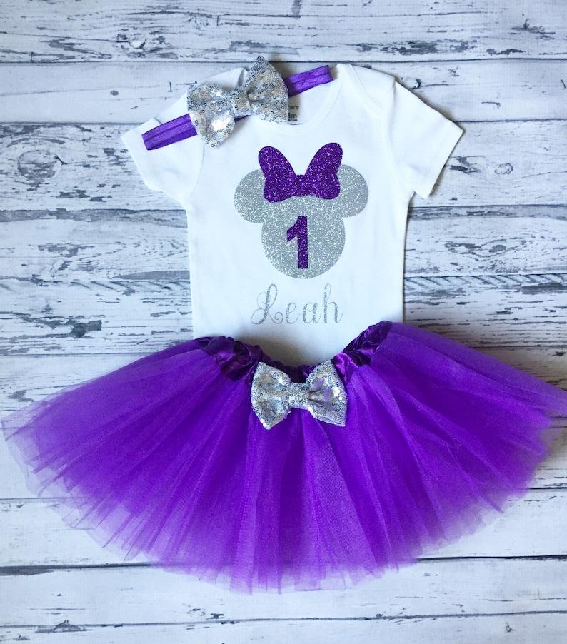 Purple tutu Minnie Mouse 1st birthday shirt Purple and Silver minnie Purple and Silver Personalized Minnie Mouse 1st birthday bodysuit