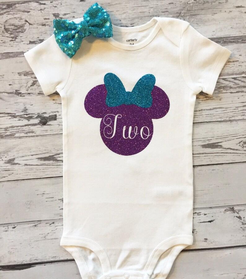 Purple And Aqua Blue Minnie Mouse 2nd Birthday Shirt