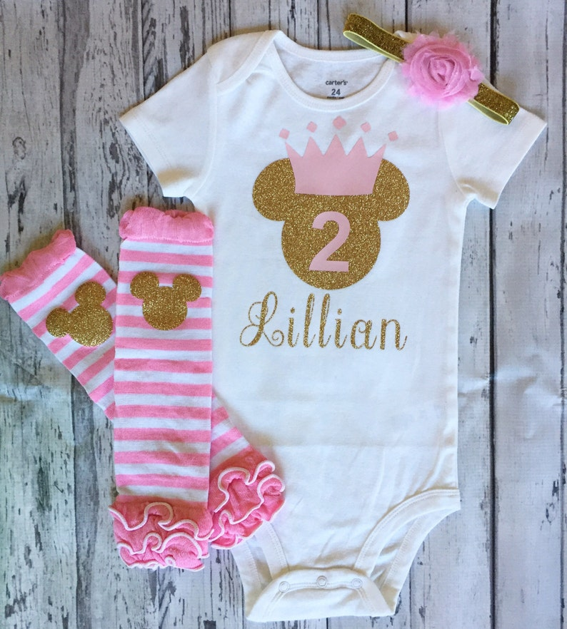 Pink And Gold Personalized Minnie Mouse 2nd Birthday Shirt