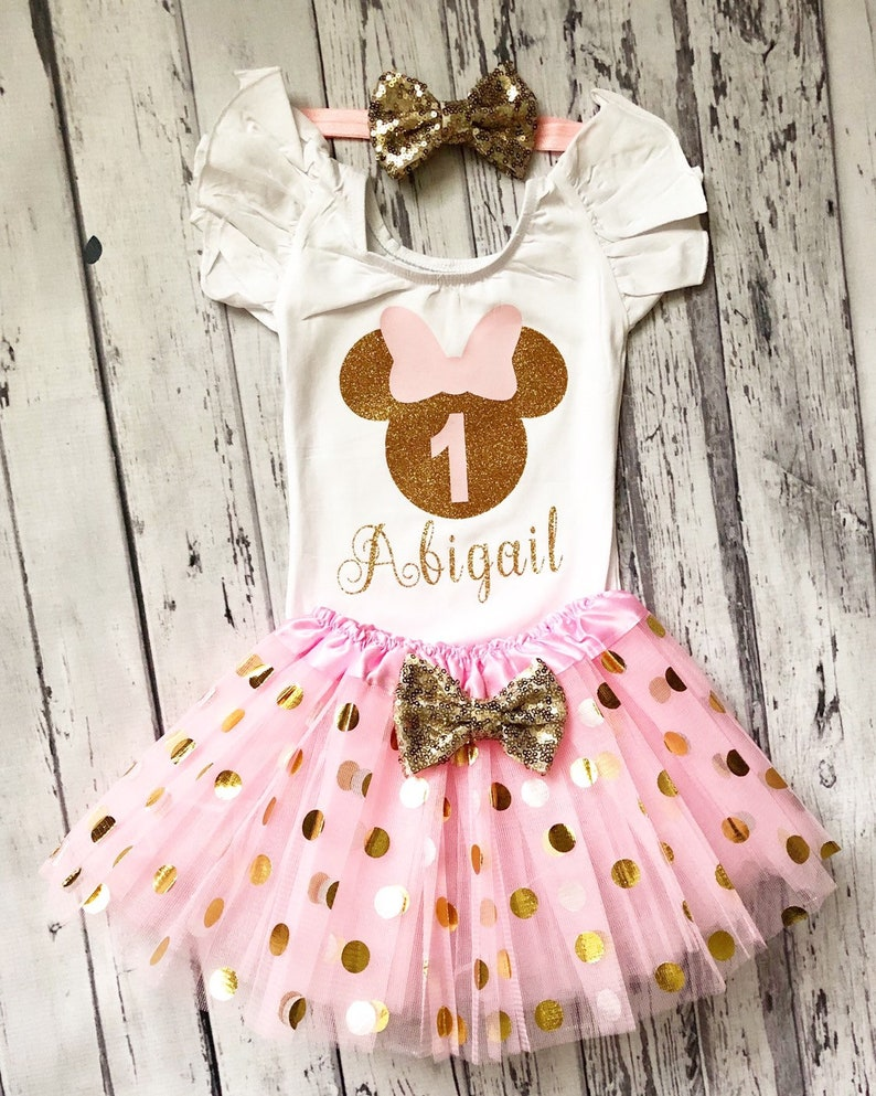 Pink and Gold Personalized Minnie Mouse 1st birthday Leotard White Ruffle Leotard Minnie Mouse birthday Outfit Minnie Fluttersleeve Dance