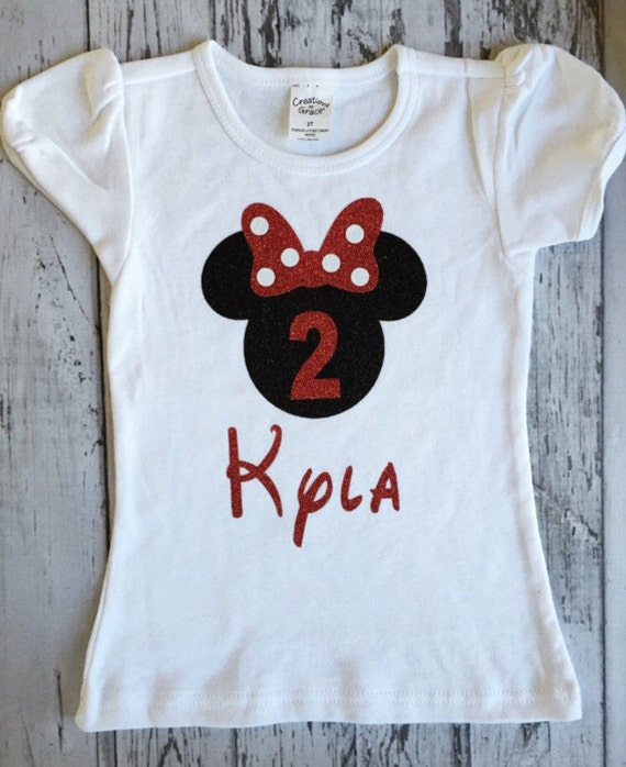 Black And Red Personalized Minnie Mouse 2nd Birthday Shirt
