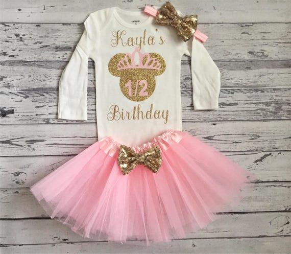 Rosa Und Gold Die Halfte Geburtstag Outfit Minnie Maus 6 Monat Etsy