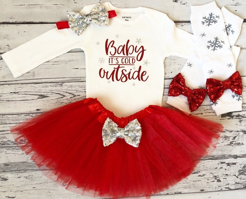 d81923cad Baby Its Cold Outside Baby Girl Christmas Outfit Red Tutu | Etsy