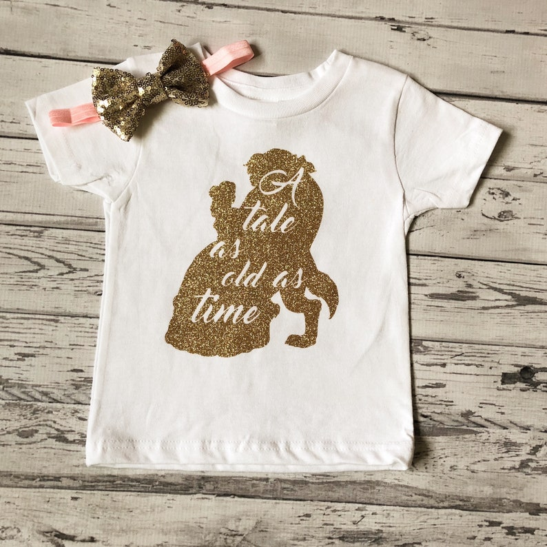 Tale As Old As Time Bodysuit Beauty and the Beast Outfit Glitter Disney Bodysuit Beauty and the Beast Gold Bodysuit Baby Girl Bodysuit Prop