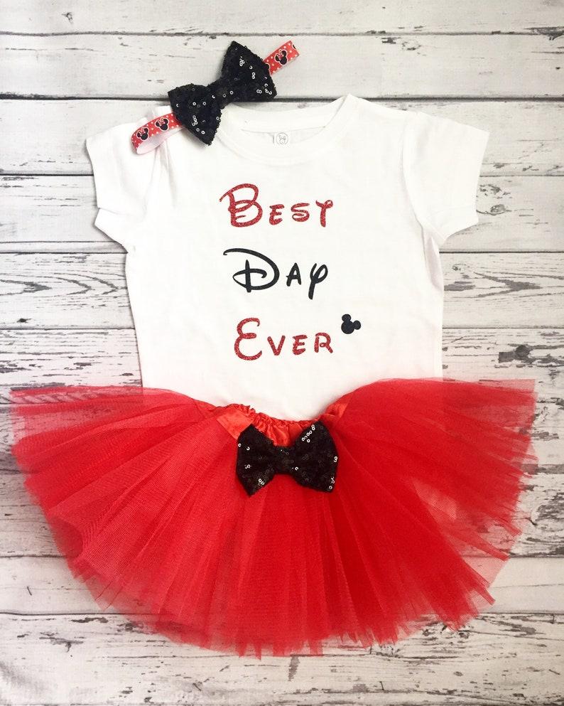Best Day Ever Disney Day Disney Trip Disney Outfit Red Tutu Minnie Shirt Disneyland Disneyworld My First Disney Trip Outfit Red and Black