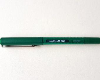 Used, Uniball, Rollerball, Fine Liner, Green, water proof, 0.7mm nib, UB-157