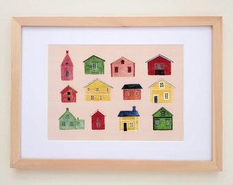 Scandinavian Houses Print, Wall Art Print, Scandi Print