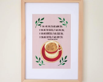 Tea Art Print, Kitchen Wall Art, Hand Lettered Quote, Tea Lover Gift, Home Decor