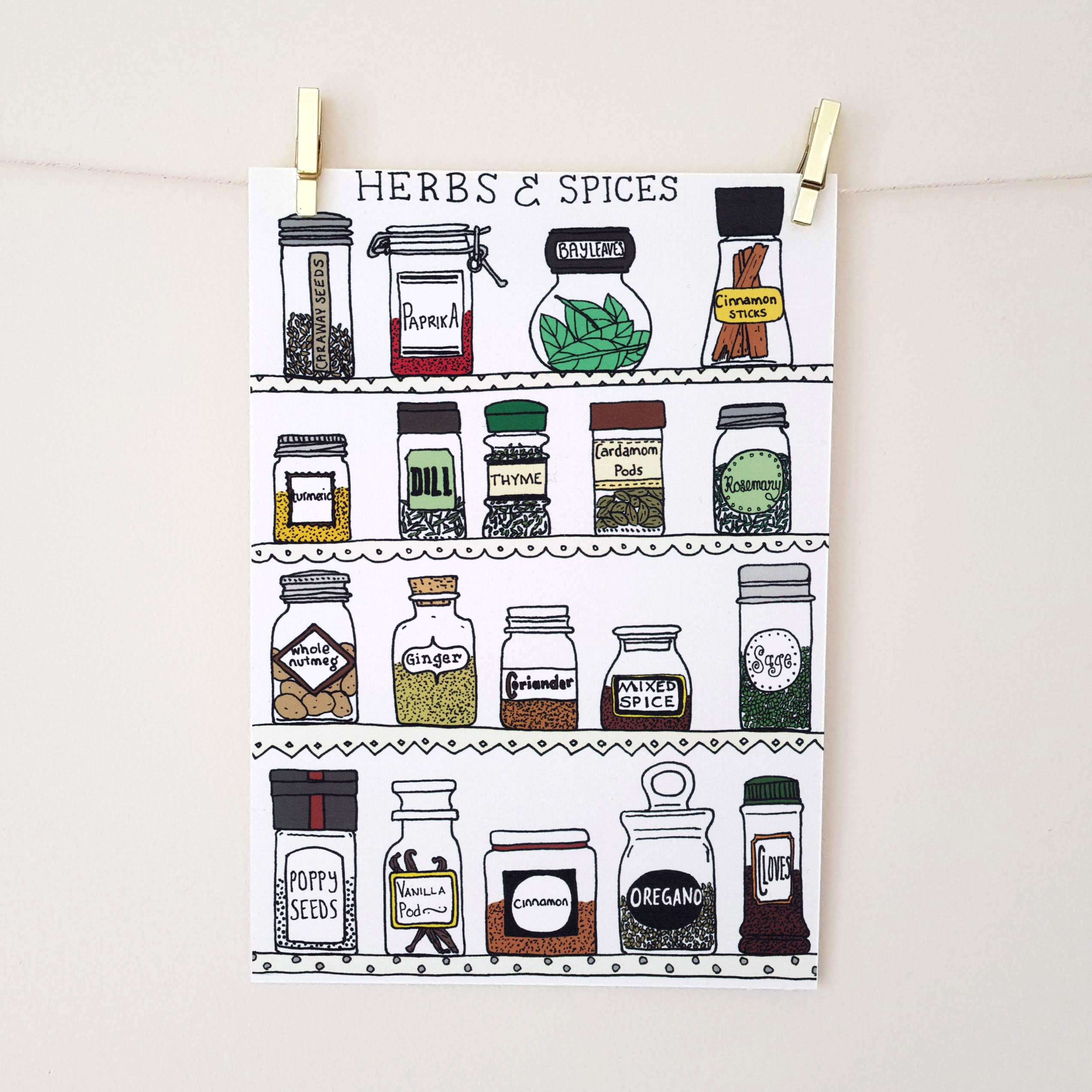 Herbs And Spices Art Print Kitchen Wall Art Spice Jars