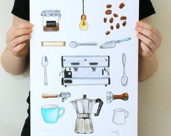 Coffee Watercolour, Original Art, Coffee Art, Coffee Lovers Gift, Original Painting, Kitchen Wall Art, Coffee Decor, Coffee Shop Decor