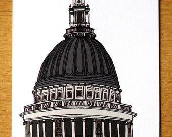 St Pauls Cathedral, London Cards, Hand Drawn Card, London Landmark, Travel Illustrations, London Art, St Pauls, Greeting Card, Note Cards