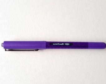 Used, Uniball, Rollerball, Fine Liner, Purple, water proof, 0.7mm nib, UB-157