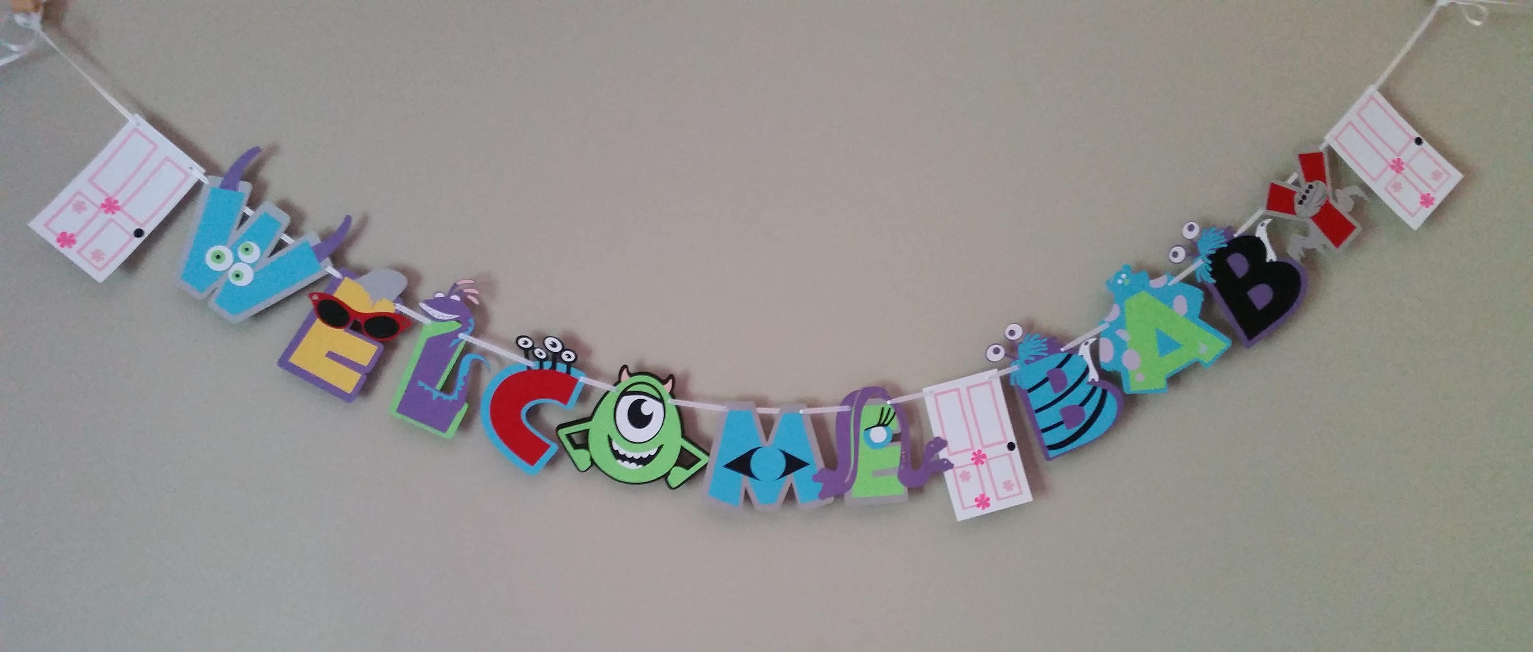 Monsters Inc Baby Shower Banner Monsters Inc Baby Shower Etsy