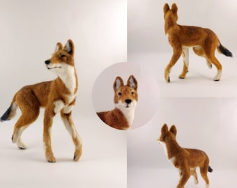 Ethiopian Wolf- needle felted soft sculpture, needle felted wolf, needlefelted animal, wolf figure