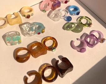 Colorful Retro Resin Rings Transparent Ring Set Round Square Geometric Resin Acrylic Rhinestone