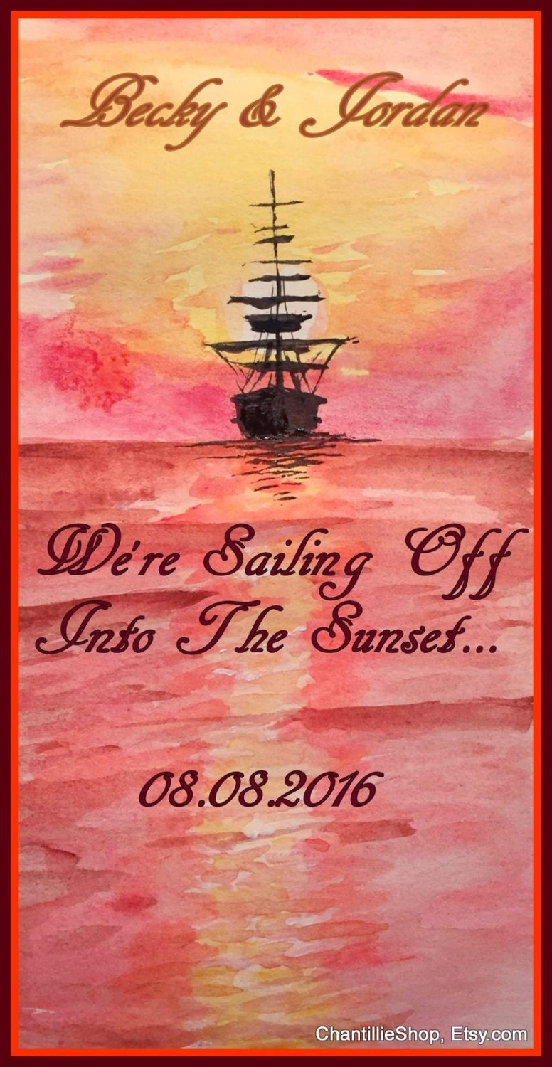Sunset Save the Date Nautical Wedding Invite Watercolor | Etsy