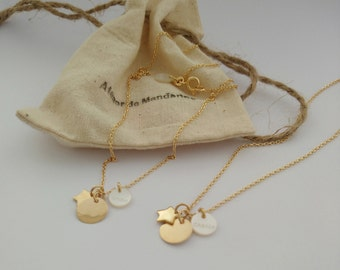 Trio necklace love or luck in silver or plated gold