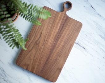 The Wide Farmhouse - Walnut Wood Cutting Board with Handle / Serving Board / Wood Cutting Board - FREE CARE KIT