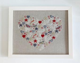 Framed Cross Stitch Picture, heart shaped, winter motif