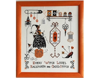 Framed cross stitch picture, Halloween, witch