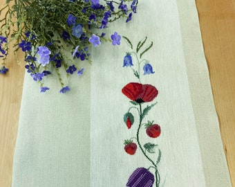 Hand stitched table runner, cross stitch table runner, modern table topper