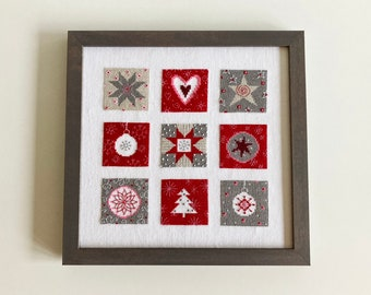 Hand stitched and framed cross stitch picture, Christmas symbols, Christmas decor