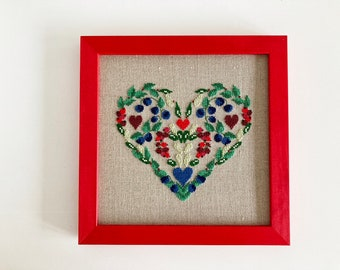 Hand stitched and framed cross stitch picture, sustainable wall art