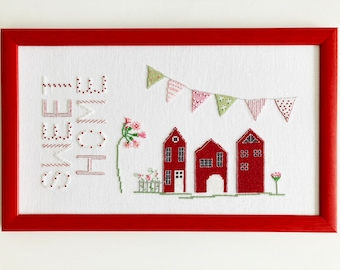 Hand stitched cross stitch picture, Home Sweet Home cross stitch, modern cross stitch