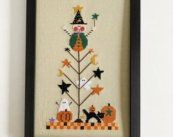 Hand stitched cross stitch picture, Halloween tree