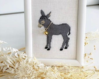Completed and framed cross stitch picture, donkey, donkey foal