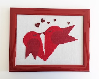 Hand-stitched cross stitch picture, Lovebirds