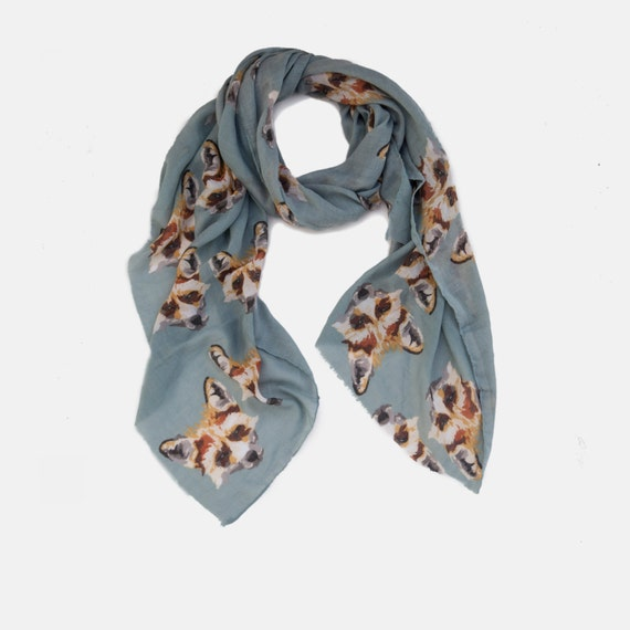 Cream viscose scarf with orange fox pattern gorgeous soft-gift-mother's day-mum