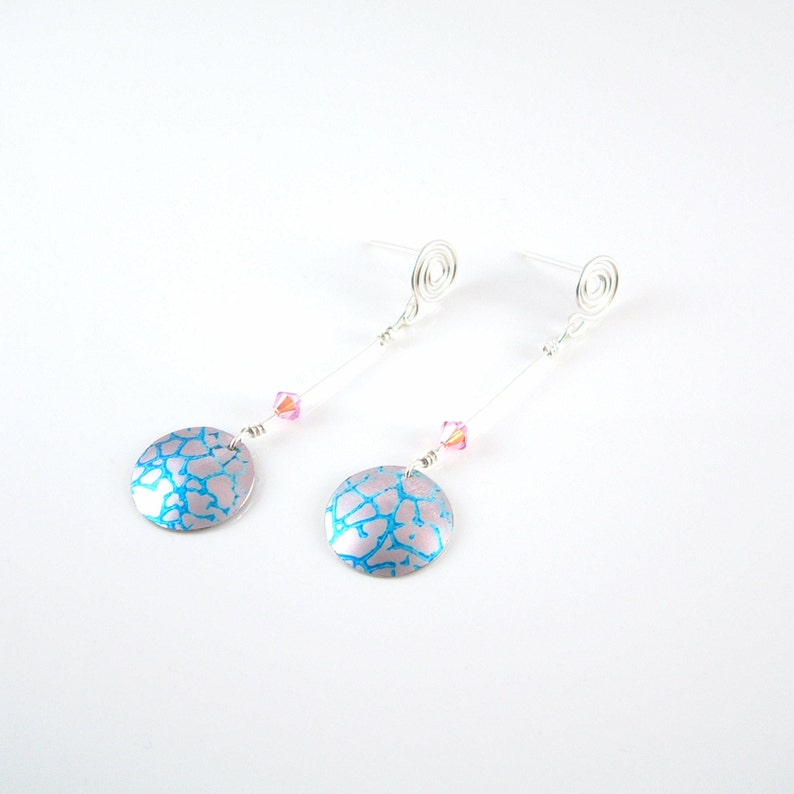 2c3d40bdfbed6 Pink and blue dangle earrings in anodised aluminium with sterling silver  coiled studs and Swarovski crystals Gift for her Colourful Earrings