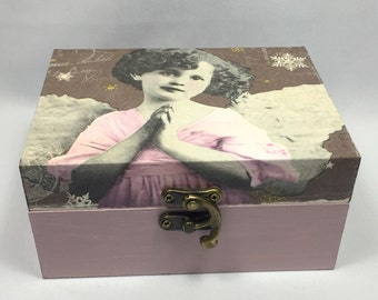 Wooden retro pink Angel girl box set