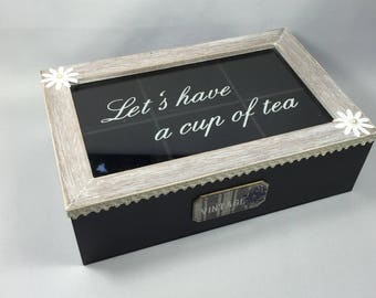 Tea wooden box in 6 compartments, black and Taupe - lace and flowers