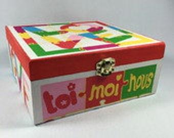"""Box - box set 4 compartments """"LOVE"""" multicolor"""
