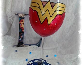 Wonder Woman inspired wineglass. Handpainted glass