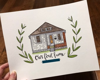 Custom simple house / building watercolor with optional quote / family name / address