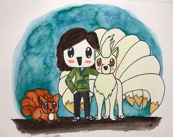 Custom Pokemon Partner Watercolor