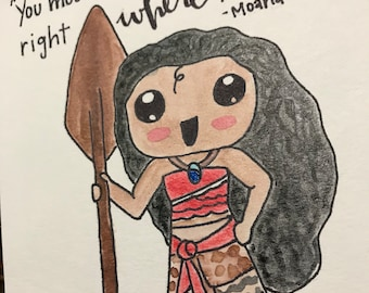 Moana Disney Watercolor happiness quote