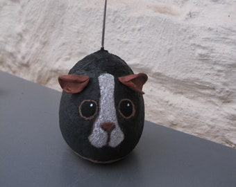 ROCK PAINTING, Black Guinea Pig, Hand Painted Rock, Guinea Pig Painted on Stone, Pic/Message Holder, Animal Lover Gift.