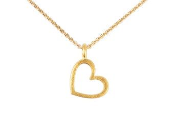 High quality children's necklace, gold chain with heart pendant, 750 gold