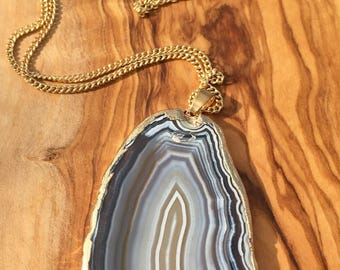 "Agate Slice Pendant with Gold Trim on 24"" Chain"