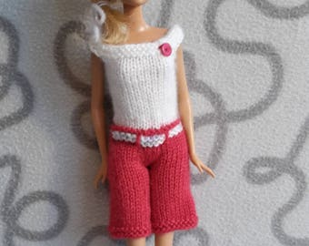 Knitted  two-colour jumpsuit for barbie doll