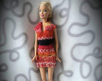 Short dress with sleeves for barbie doll