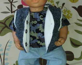 Three- piece clothing set for boy doll:  jeans with pockets and fake fly, shirt and bodywarmer